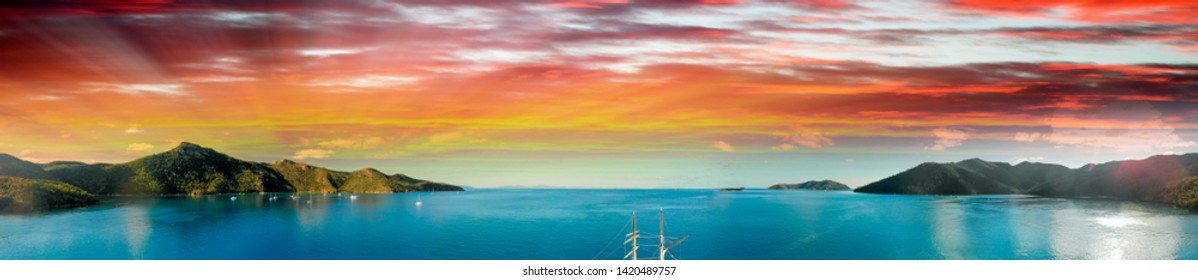 Whitsunday Islands, Australia. Aerial view of beautiful seascape at sunset.