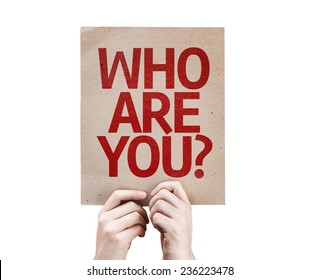 Who Are You? card isolated on white background