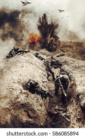 Who dares wins. Squad of french paratroopers in action. Planes supporting them from air, enemy trenches are shelled and filled with killed enemies