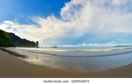 The whole Ao Nang bay early in the morning, Krabi province, Thailand