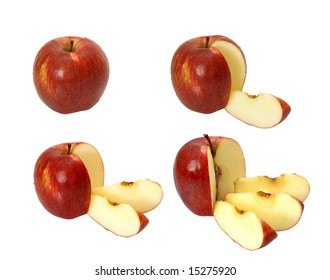 The whole apple and with cut off by one two and three shares on a white background.