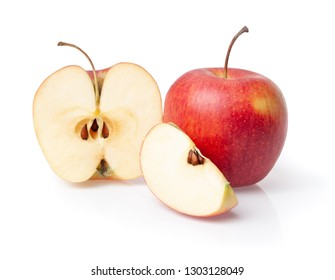 whole apple and cutout fruit isolated close-up