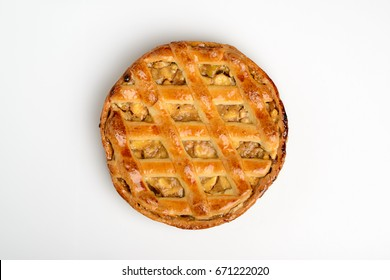 Whole apple pie, top view