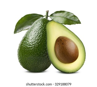 Whole avocado with leaves and cut half seed isolated on white background as package design element