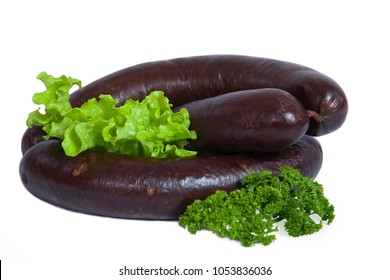 Whole blood sausage. Meat product in natural intestine casings. Decorated with leaf of lettuce and branch of parsley. Isolated on white background