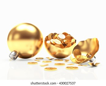 Whole and broken Christmas balls with coins inside isolated on white background. 3D illustration