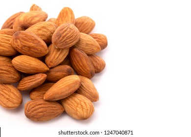 Whole California Almonds on a White Background