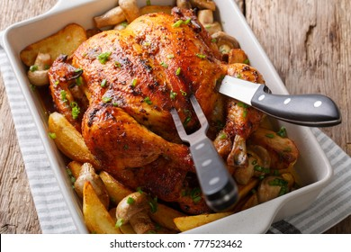 Whole chicken with mushrooms and potatoes close-up in a dish for baking. horizontal