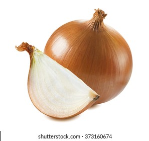 Whole common yellow onion quarter piece isolated on white background as package design element