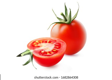 Whole and cut fresh, red tomatoes with green steam isolated on white background.