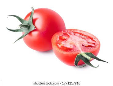 Whole and cut fresh, red tomatoes with green steam isolated on white background. Clipping path. Full depth of field.