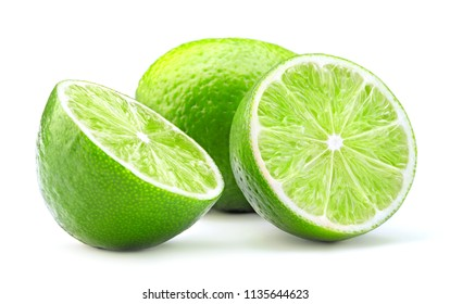 whole and cut lime fruit isolated on white background