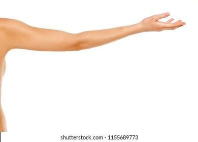 whole female arm on white background