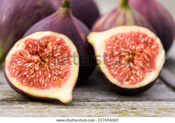 Whole Figs One Fig Sliced Half Stock Photo Edit Now 317696069