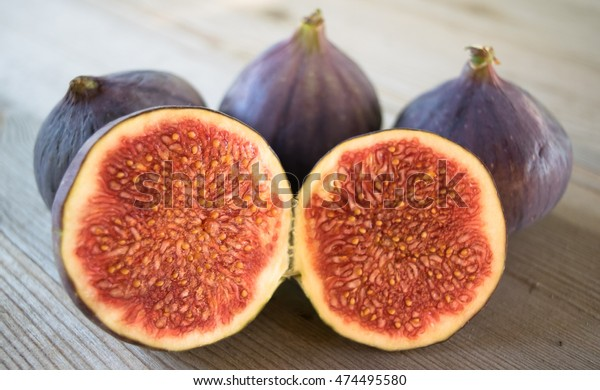 Whole Figs One Fig Sliced Half Stock Photo Edit Now 474495580