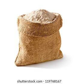 Whole flour in bag on white background