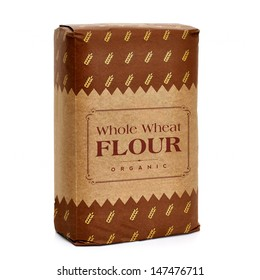 Whole flour in kraft or craft paper bag isolated on white background