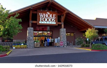 Whole Foods market natural organic products storefront entrance, Sedona Arizona USA, June 2, 2019