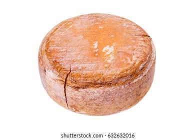whole french cheese - big round ossau-iraty, isolated