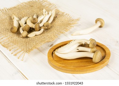Lot of whole fresh brown buna shimeji mushroom on bamboo coaster on natural sackcloth on white wood
