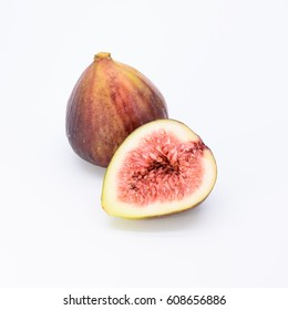 A whole fresh fig and split isolated on white background.