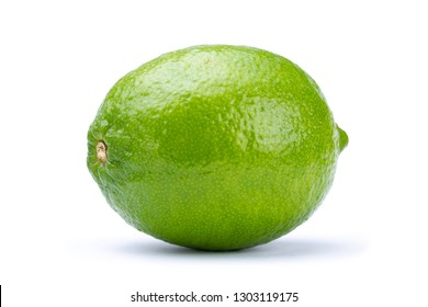 Whole fresh green lime isolated on white background. Citrus and tropical fruits