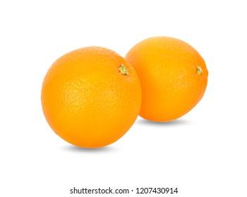 whole fresh Navel orange on white background