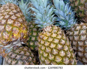 whole fresh pineapples close up