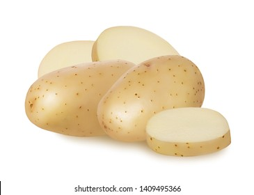 Whole fresh raw potato in peel and cut potatoes round slice isolated on white background with shadow
