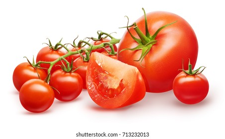 Whole fresh red tomato, half, small cherry and branch of cherry tomatoes with green leaves isolated on white background