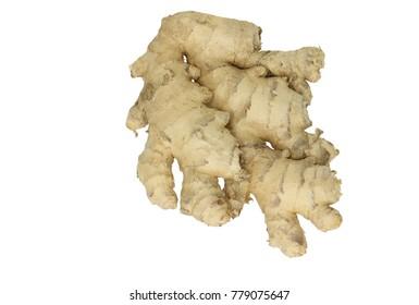 Whole ginger, zingiber officinale, isolated on white