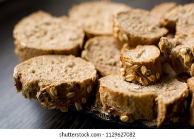Whole grain bread closeup