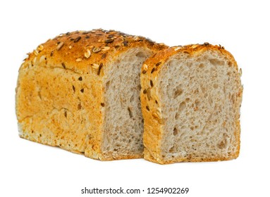 whole grain bread isolated on white background. whole grain bread isolated on white background. whole wheat bread isolated, texture detail of whole-grain seed. Different varieties of grains