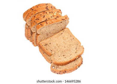 Whole grain bread isolated on white background