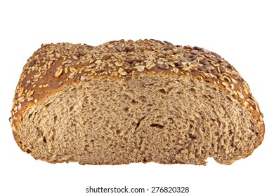 Whole grain bread isolated on white background. Clipping path included.