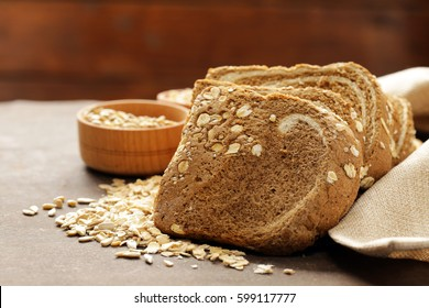 Whole grain bread with oat flakes and seeds