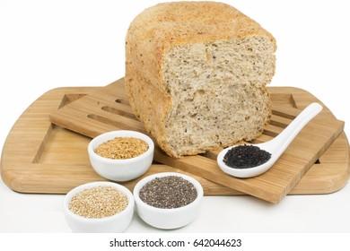 whole grain bread in white background