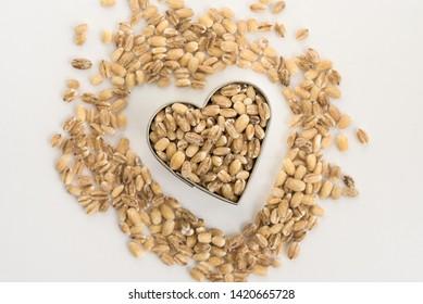 Whole Grain Milling Barley in a Heart Shape