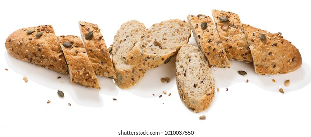 Whole grain multigrain bread contains whole grains ( poppy, millet,  flaxseed,  pumpkin seeds, and sunflower seeds) isolated on white background.