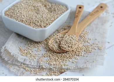 Whole Grain Quinoa on Bamboo Spoons