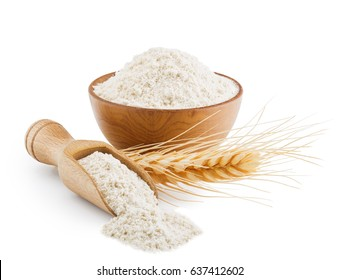 Whole grain wheat flour isolated on white