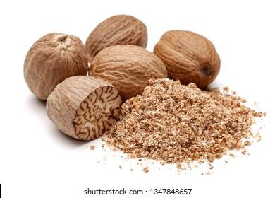Whole and grated nutmeg isolated on white background
