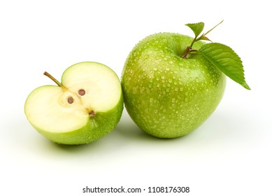 Whole green apple granny smith with leaf and half, isolated on white background.