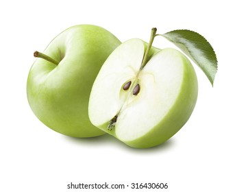Whole green apple and half with leaf isolated on white background as package design element