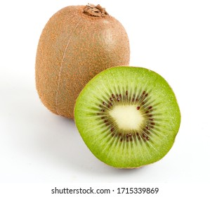 whole Green kiwi fruit and half isolated on white background.