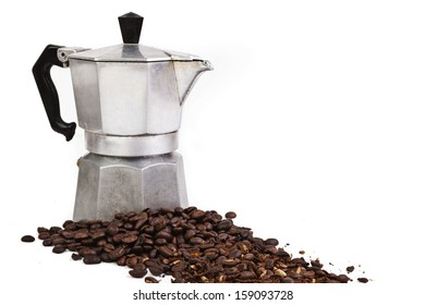 Whole and ground coffee beans
