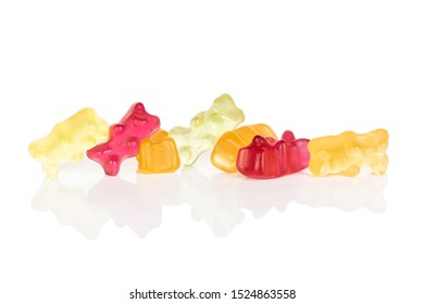 Lot of whole gummy bear heap isolated on white background