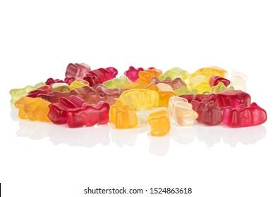 Lot of whole gummy bear isolated on white background