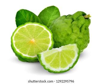 whole and half bergamot with leaf isolated on white background