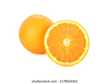 whole and half cut fresh Navel orange on white background